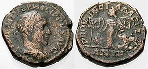 Legio V Macedonica - Sestertius minted in 247 by Philip the Arab to celebrate Dacia province and its legions, V Macedonica and XIII ''Gemina''. Note the eagle and the lion, V's and XIII's symbols, in the reverse.