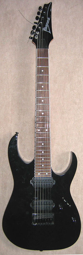 Glossary of jazz and popular music - A seven-string electric guitar, the Ibanez RG7321BK