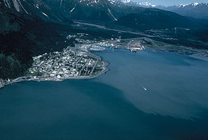 Aerial view of Seward, Alaska, USA.