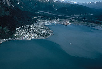 Seward, Alaska - Aerial view of Seward, Alaska in the 1990s, looking north. The mouth of the Resurrection River and the base of Mount Marathon are visible.
