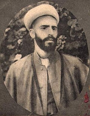 """Mohammad Khiabani - In the caption one reads: """"Āghā Shaikh Mohammad Khiābāni, the leader of the Freedom Fighters of Azerbaijan who was martyred"""""""
