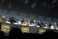 Shane Black, Sterling K. Brown, Olivia Munn, Thomas Jane, Keegan Michael-Key, Trevante Rhodes, Augusto Aguilera & Jake Busey (42878754414).jpg