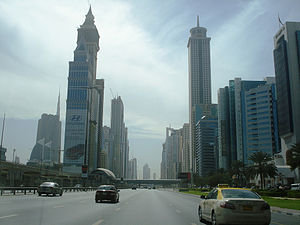E 11 road (United Arab Emirates) -  Skyscrapers in Sheikh Zayed Road