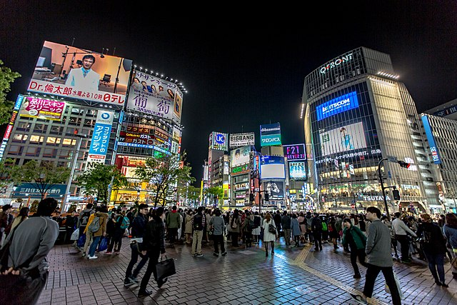 "The infamous ""Shibuya Scramble"" intersection"