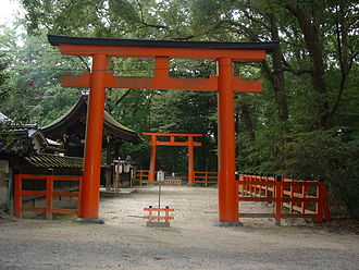 Kamo Shrine - A pair of torii gates at Shimogamo Shrine.