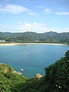 Shiratsuru-hama beach and the village of Takahama.jpg