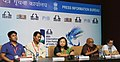 Shri Aribam Syam Sharma, Ms. Manju Borah, Shri M. Maniram briefing the media in connection with New Horizons from NORTH-EAST film industry, at the 46th International Film Festival of India (IFFI-2015), in Panaji, Goa.jpg