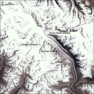 Glacier - Satellite imagery of the Siachen Glacier, Jammu and Kashmir in India