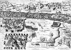 Siege of Pest - Siege of Pest, after Enea Vico, 1542.