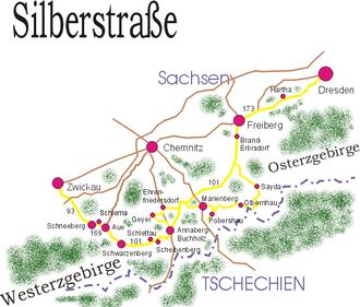 Bergbau Erzgebirge Karte.Silberstrasse Wikipedia