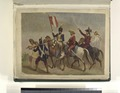 Six men, four mounted. Four of the men are in uniform- two in blue uniforms with red details and two in red uniforms (NYPL b14896507-76672).tiff