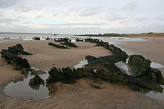 South Gare - Remains of a wooden ship embedded in Bran Sands