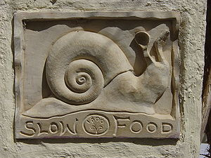 Slow Food - A restaurant placard, Santorini, Greece