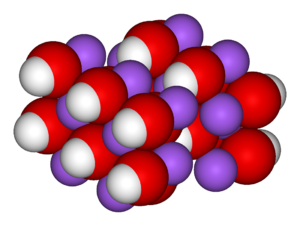 Unit cell, spacefill model of sodium hydroxide.