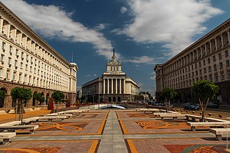 Independence Square in Sofia: The headquarters of the Presidency (right), the National Assembly (centre) and the Council of Ministers (left). Sofia (15326483440).jpg