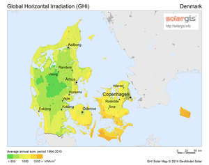 Solar power in Denmark - Solar radiation map of Denmark