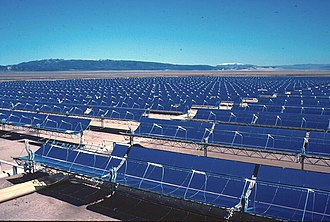 Solar power - Part of the 354 MW Solar Energy Generating Systems (SEGS) parabolic trough solar complex in northern San Bernardino County, California