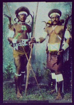 History of the Solomon Islands - Two warriors in battle dress (1895)