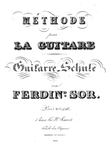 An image of the cover of Sor's Méthode pour la Guitare, the title and author's name appear in stylized text