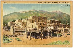 Taos Pueblo - Residential adobe complex, and Taos Mountain.