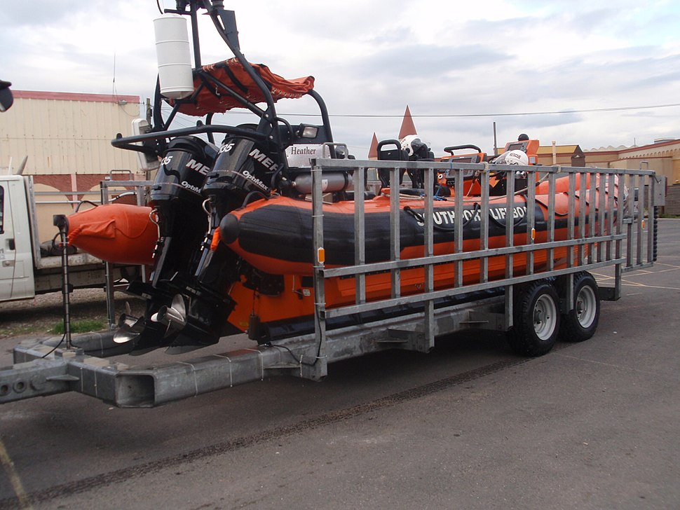 Southport inshore rescue boat on trailer