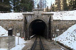 Albula Tunnel - Southern tunnel portal from Spinas station (1815 m a.s.l.).