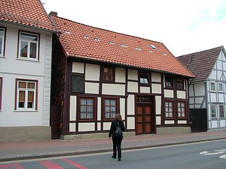 Heinrich Göbel - This house was believed to be Göbel's birthplace. He lived in this house in the 1840s, but it is not his birthplace. At the front side of this house an incandescent light bulb is burning day and night.