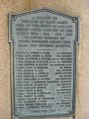 Manlius Pebble Hill School - WWI memorial plaque, St. John's Military School, 1922.