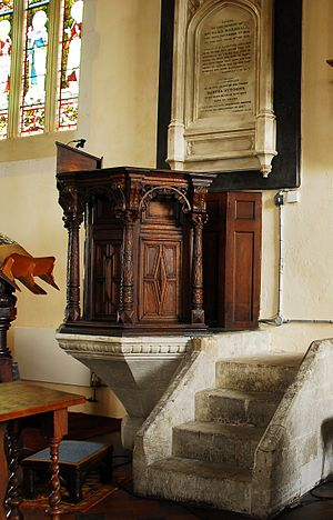17th-century pulpit in Church of St Lawrence, ...