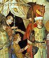 St Martin Renounces his Weapons, detail, fresco. Capella San Martino.jpg