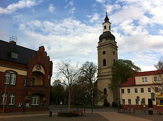 Genthin - Town hall and Trinity Church