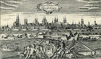 Georg Philipp Telemann - Magdeburg, Telemann's birthplace, in the early 18th century. Some 50 years before Telemann's birth the city was sacked and had to be rebuilt.