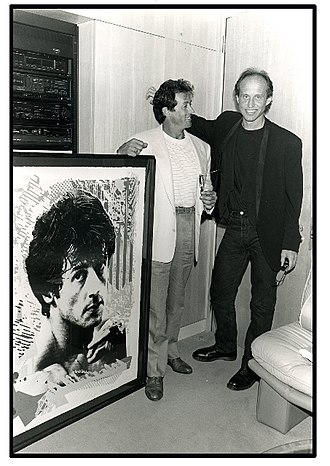 Jim Evans (artist) - Jim Presents Sylvester Stallone with a portrait painting (1978)