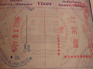 United States border preclearance - Stamps in a United States passport, one from Canada Border Services Agency at Montréal-Pierre Elliott Trudeau International Airport and the other from US Customs, also at Montréal Airport