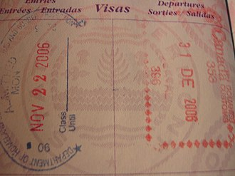 United States border preclearance - Stamps in a United States passport, one from Canada Border Services Agency (right) and the other from U.S. Customs and Border Protection (left), both issued at Montréal-Pierre Elliott Trudeau International Airport