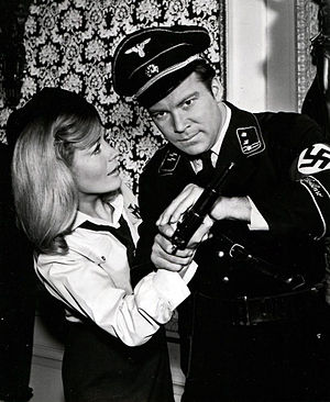 Patterns of Force (Star Trek: The Original Series) - Kirk in a Nazi uniform with Daras, an Ekosian resistance member