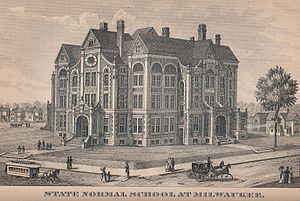 Wisconsin State College of Milwaukee - An illustration of the State Normal School, from the 1885 edition of the Wisconsin Blue Book.