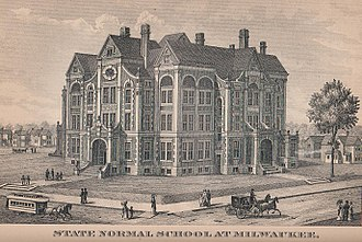 University of Wisconsin–Milwaukee - Illustration of the State Normal School at Milwaukee, published in the 1885 edition of the Wisconsin Blue Book.