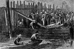 A depiction of the Westfield boiler explosion in an 1871 wood engraving