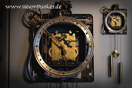 Steampunk wall clock (Wikimedia)