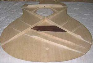 Guitar bracing - Image: Steel string guitar X bracing system 2