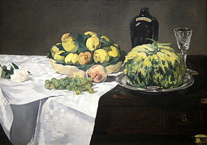 Agnes E. Meyer - Edouard Manet, Still Life with Melon and Peaches, oil on canvas, 1866, National Gallery of Art