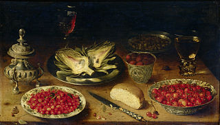 Still life with chinese porcelain, berries, and artichokes