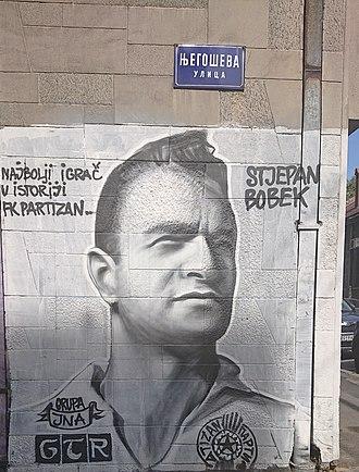 Stjepan Bobek - A graffiti of Stjepan Bobek in Belgrade's Njegoševa street, done by supporters of FK Partizan