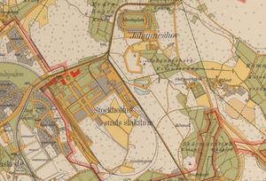 "Johanneshovs IP - Johanneshovs IP on a map from the 1920s (in the upper part, ""Idrottsplats"")."