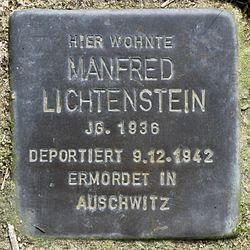Photo of Manfred Lichtenstein brass plaque