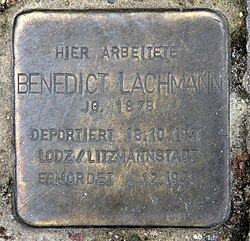 Photo of Benedict Lachmann brass plaque