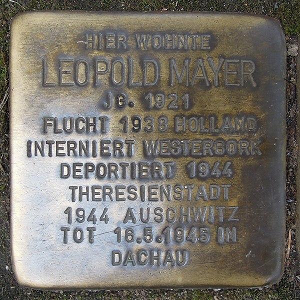 File:Stolperstein Düren Bonner Straße 8 Leopold Mayer.JPG