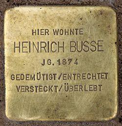 Photo of Heinrich Busse brass plaque