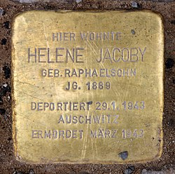 Photo of Helene Jacoby brass plaque